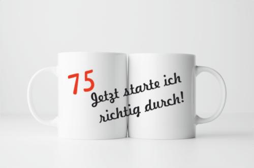 Bedruckte Tasse zum 75. Geburtstag