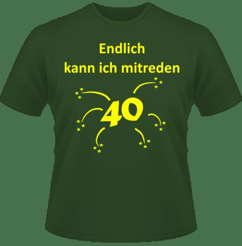 Bedrucktes T-Shirt zum 40. Geburtstag