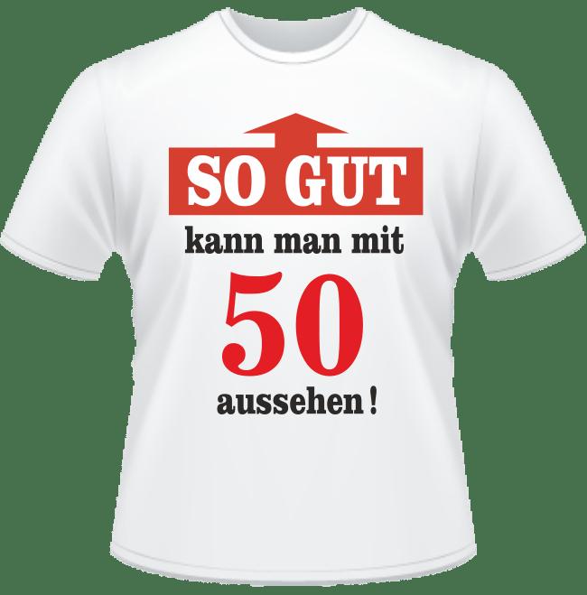 Bedrucktes T-Shirt Mit 50 gut aussehen
