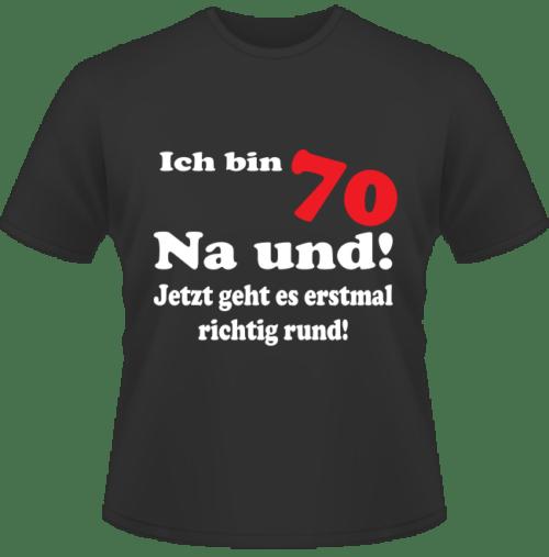 Bedrucktes T-Shirt Mit 70 geht es rund