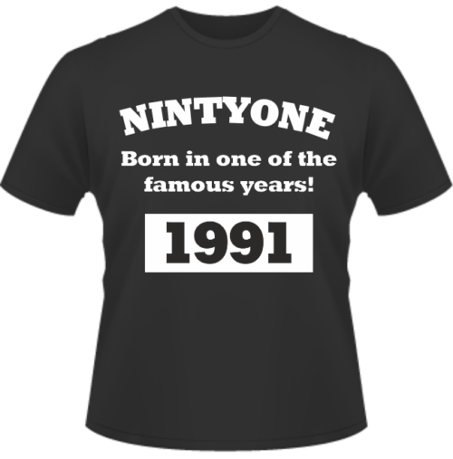 Bedrucktes T-Shirt zum Geburtstag Born in 1991