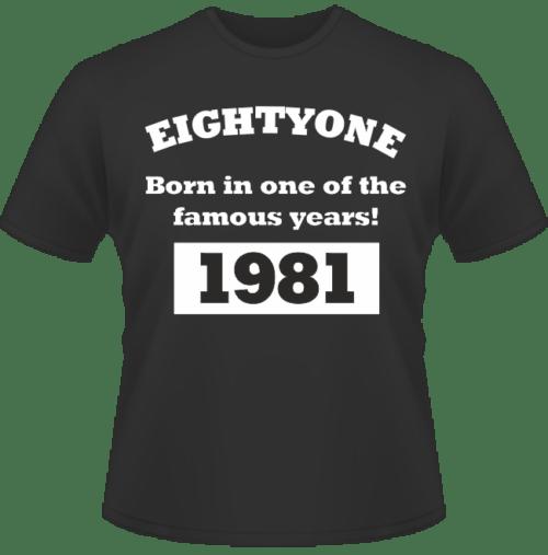 Bedrucktes T-Shirt zum Geburtstag Born in 1981