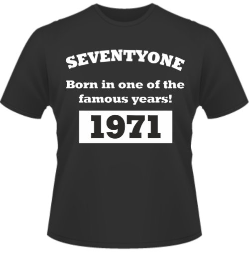 Bedrucktes T-Shirt zum Geburtstag Born in 1971