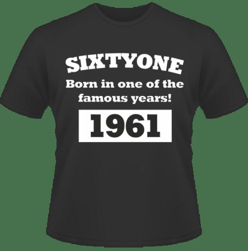 Bedrucktes T-Shirt zum Geburtstag Born in 1961