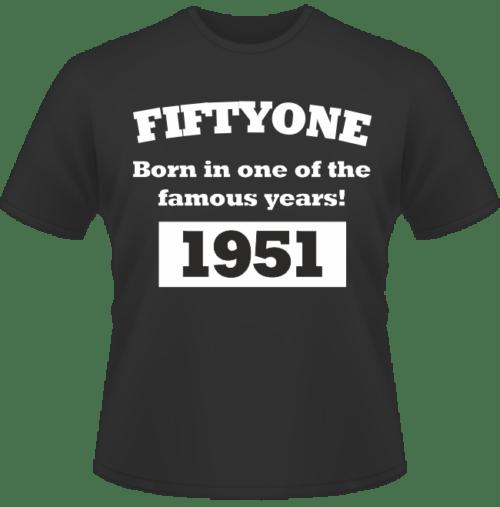 Bedrucktes T-Shirt zum Geburtstag Born in 1951