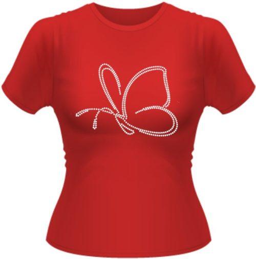 Girly T-Shirt mit Schmetterling aus Strasssteinen