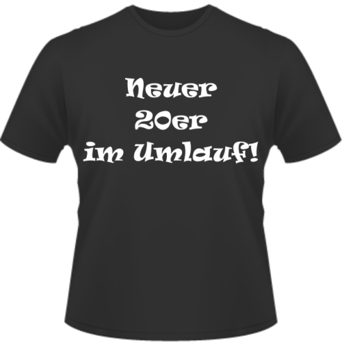 Bedrucktes T-Shirt zum 20. Geburtstag Neuer 2023 im Umlauf